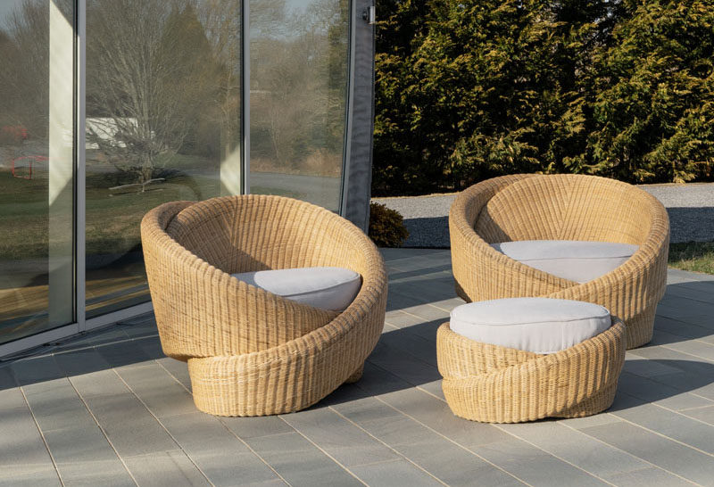 NEA Studio has designed Knotties, a set of indoor/outdoor armchairs with an ottoman, that's comprised of sculptural knot forms made from polyethylene rattan. #OutdoorFurniture #Seating #Design #FurnitureDesign