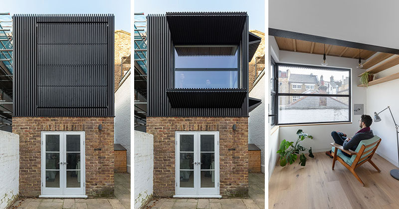 MATA Architects has completed a small first floor rear extension to a mid terrace Victorian era house in Islington, London, #ModernArchitecture #HouseExtension #Shutters