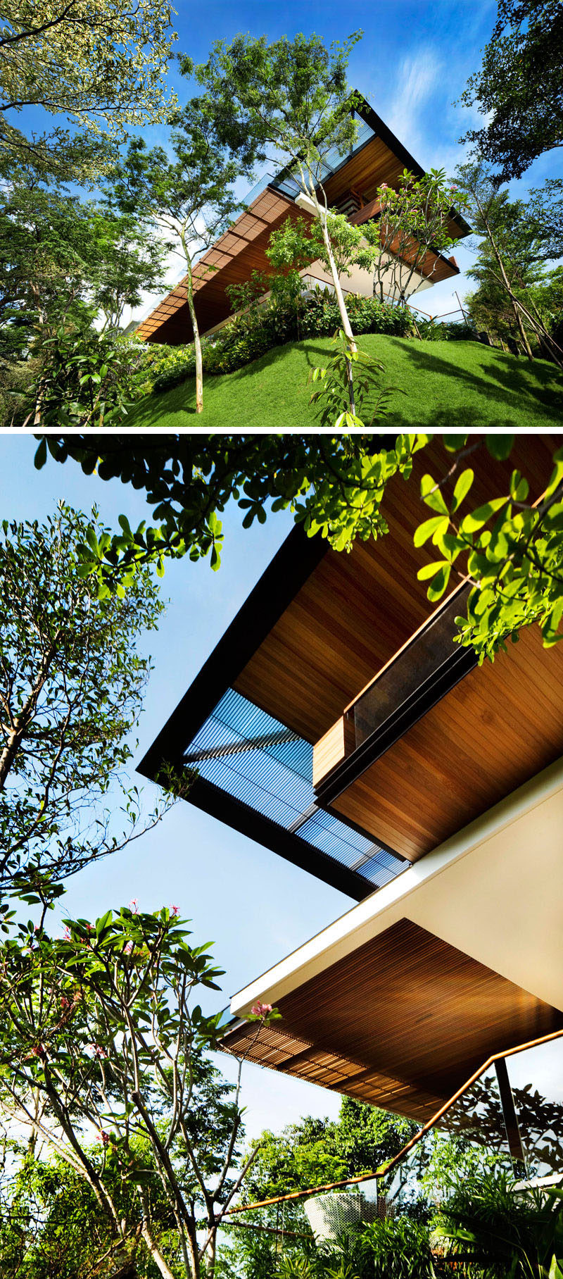 GUZ Architects has designed a modern house in Singapore, for their client who requested an exciting dynamic house that made the most of the steeply sloping site which overlooked the world heritage site of the botanic gardens. #ModernHouse #ModernArchitecture