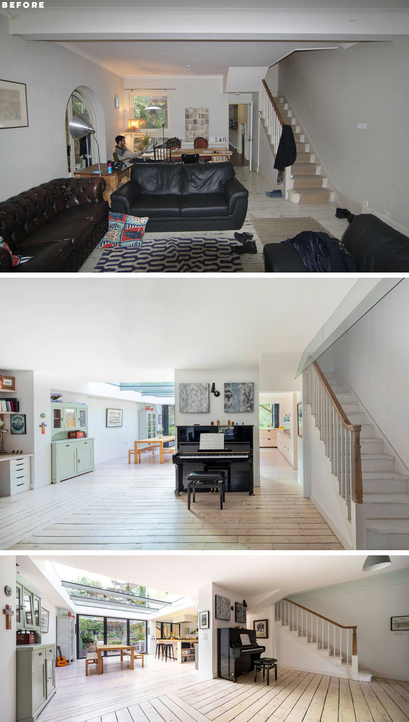 In this renovation (with an extension), wall were removed between the original areas of the house, and the original floor boards were re-oiled and placed atop new under floor heating. #Renovation #HouseExtension #Flooring
