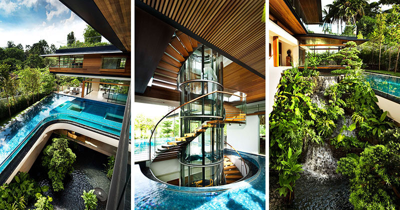 This modern house in Singapore features a curved swimming pool, a sculptural staircase, and a waterfall. #ModernHouse #HouseDesign #ModernArchitecture
