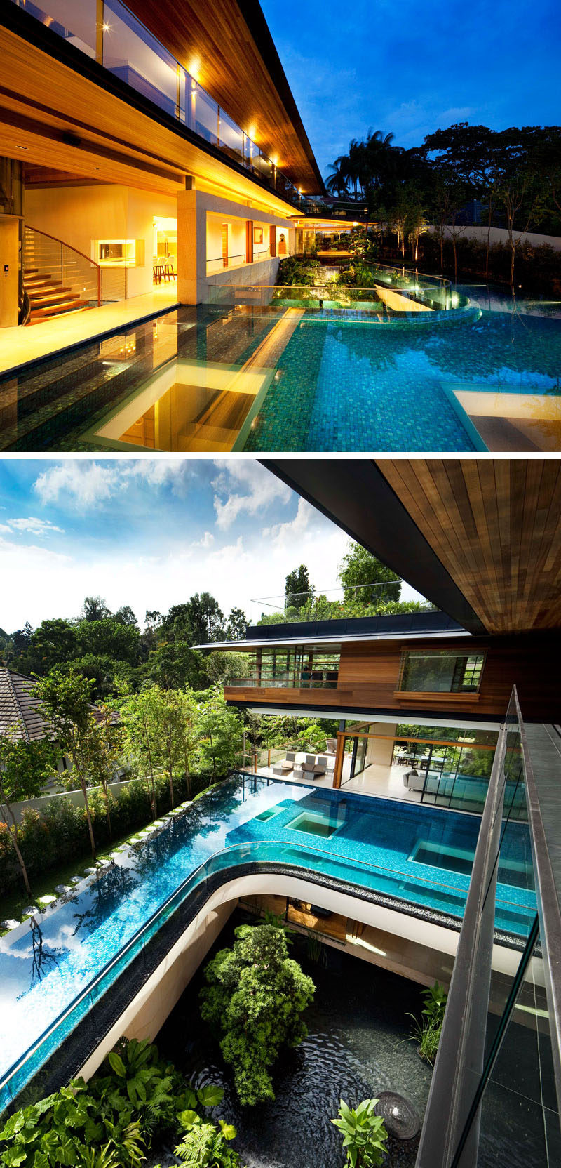 This modern house has a swimming pool that curves, and has windows to the level below, allowing light to filter through the water. #SwimmingPool #ModernHouse