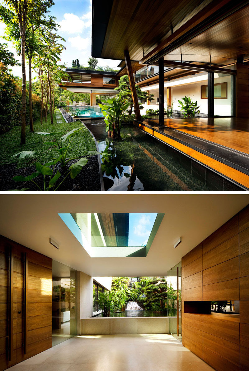 This modern multi-level house makes the most of its surrounding landscape by having the interiors open to various water features. #ModernHouse #ModernArchitecture #WaterFeatures