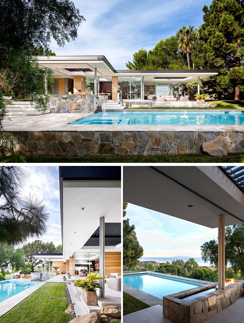 Both the living room and the kitchen of this modern house open to a patio that leads down to the swimming pool. #SwimmingPool #OutdoorSpace