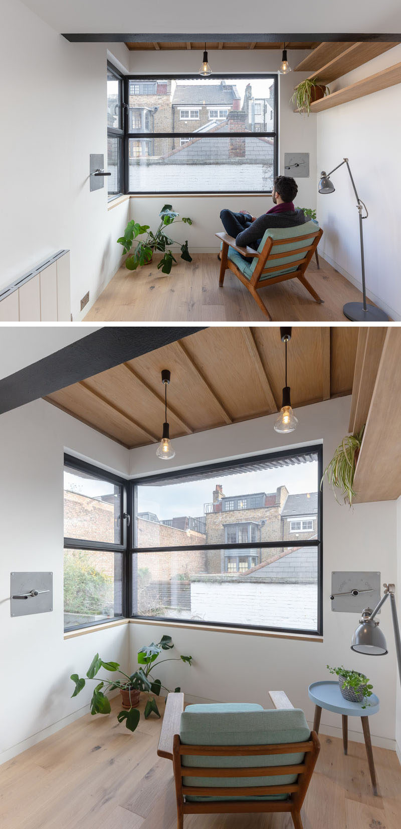 This modern extension has minimal furnishings with wood shelving, some plants, and a couple of pendant lights. #GuestRoom #ModernExtension #Windows