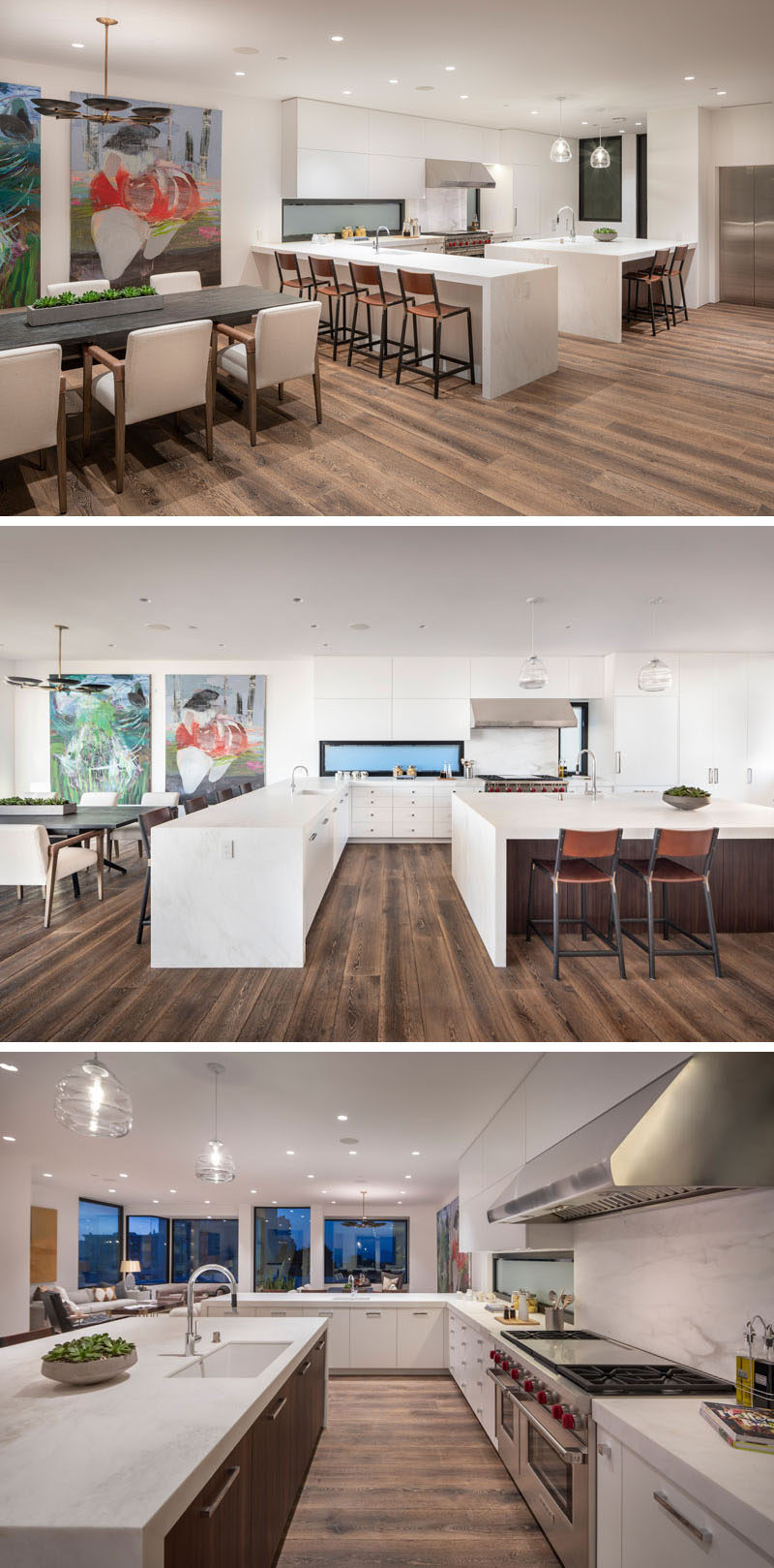 """In this modern kitchen, glossy Calcutta Caldia countertops with """"white-on-white"""" veining, are combined with locally harvested Claro Walnut, also known as California Walnut, to create a contemporary and bright look. #ModernKitchen #WhiteKitchen #KitchenDesign"""