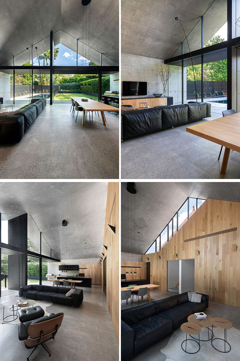 This modern house opens up to a large light-filled room that is home to the new living room, dining room, and kitchen. #ModernHouse #ModernExtension #ModernInteriorDesign