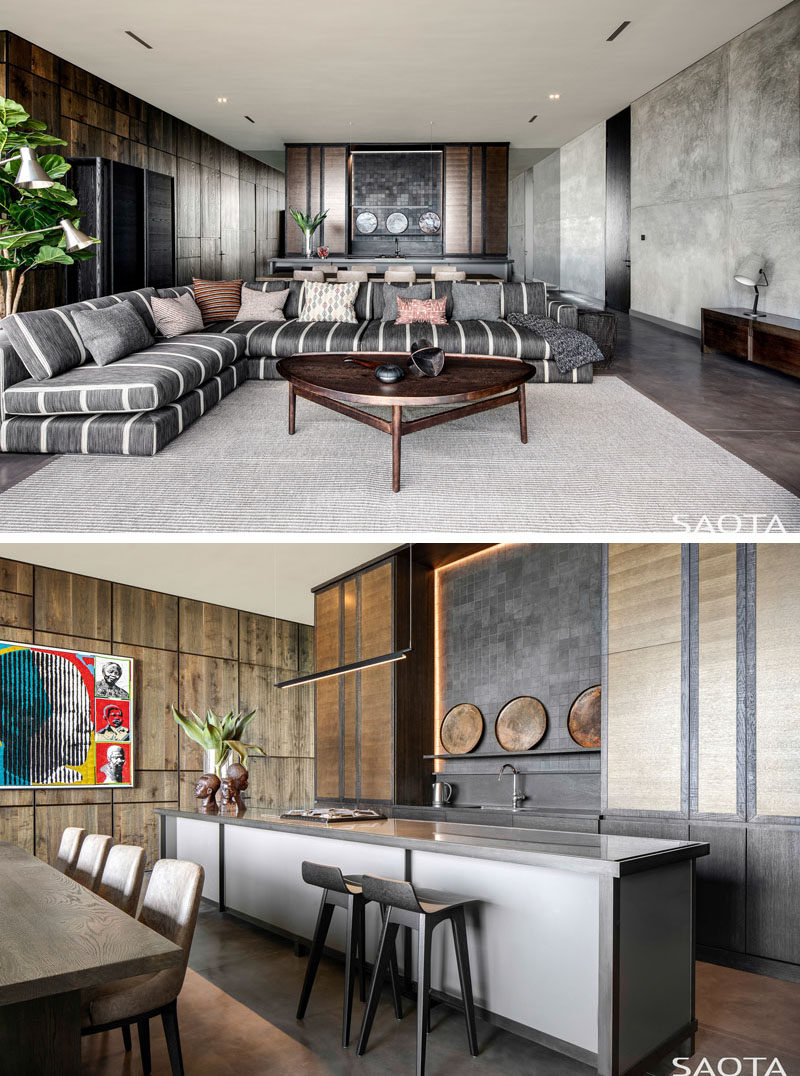 This modern house has a casual bar, dining, and lounge area, making it ideal for entertaining. #HomeBar #ModernInteriorDeisgn