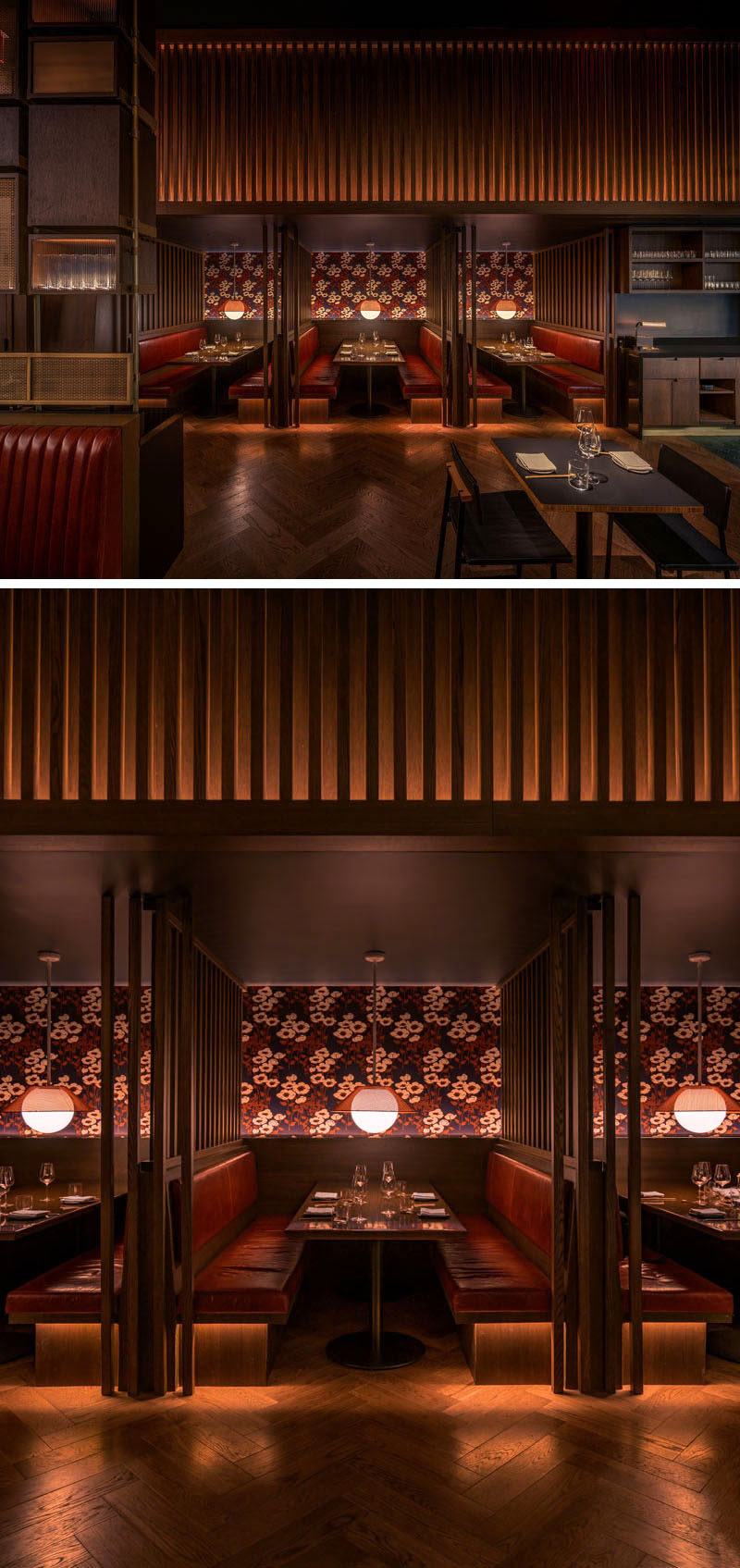 For those who diners who desire more intimate encounters, this modern restaurant features booths lined with poppy-patterned wallpaper and red leather seating. #RestaurantDesign #ModernRestaurant #BoothSeating