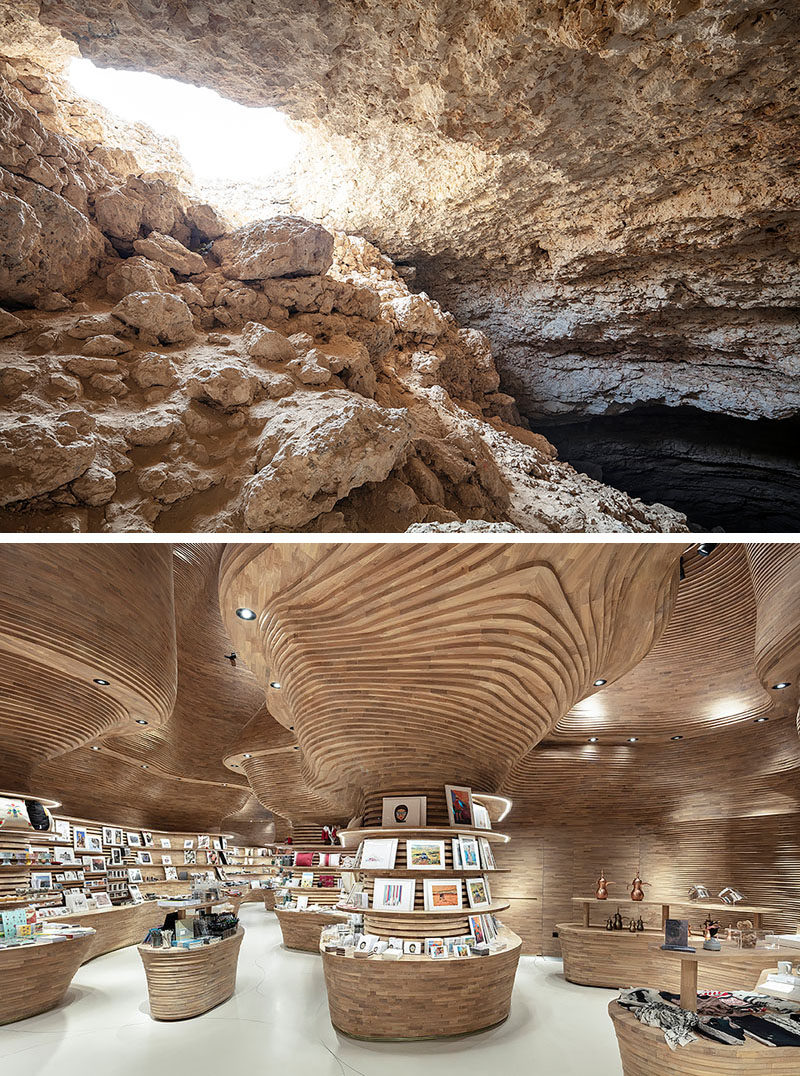Inspired by a cave, the design of the gift shop at the National Museum of Qatar features 40,000 wood pieces that create a cave-like interior #RetailDesign #RetailStore #ModernStore #Wood
