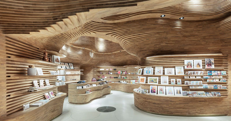 40,000 Pieces Of Wood Were Used To Create The Gift Shop In The National Museum of Qatar