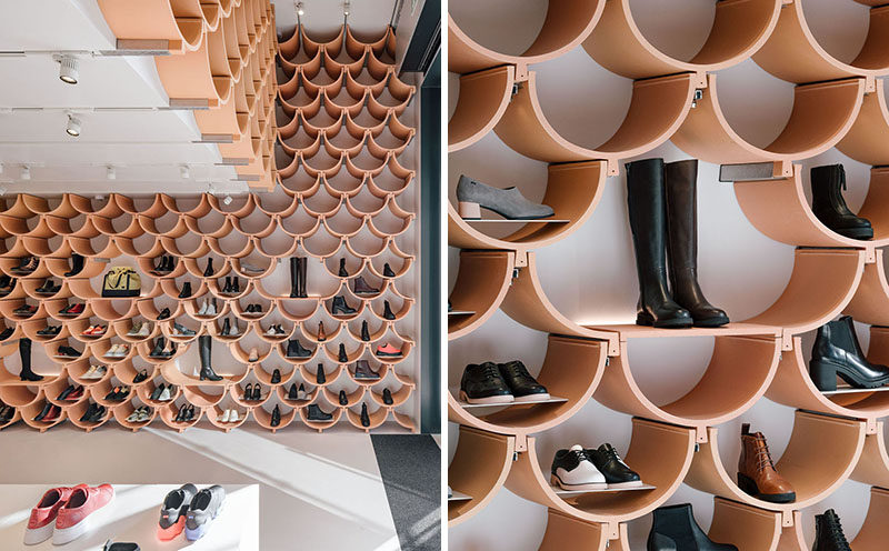 Each ceramic element allows this modern retail store to display each item separately, bringing more attention to each of the products on offer. #RetailStore #StoreDesign #Shelving #CeramicShelves