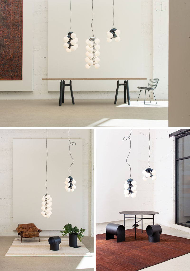 Designer Caine Heintzman has created VINE, a sculptural and vertical pendant light, that provides a big presence with a small energy draw by using low wattage LED lamps. #Lighting #PendantLight #ModernLighting #SculpturalLighting
