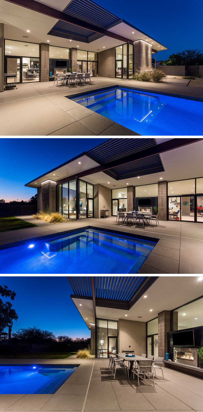 At the rear of this modern house, is a swimming pool and outdoor dining area, that are both centered on two-sided fireplace element. #ModernHouse #SwimmingPool #OutdoorDining