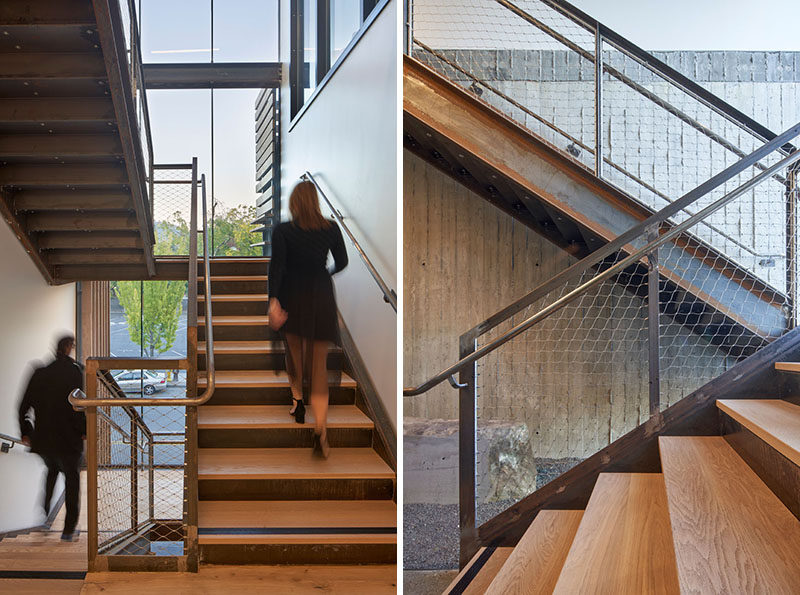 A sunlight stair tower in this modern hotel has been designed to lure people in and away from the elevator. #Stairs #HotelDesign