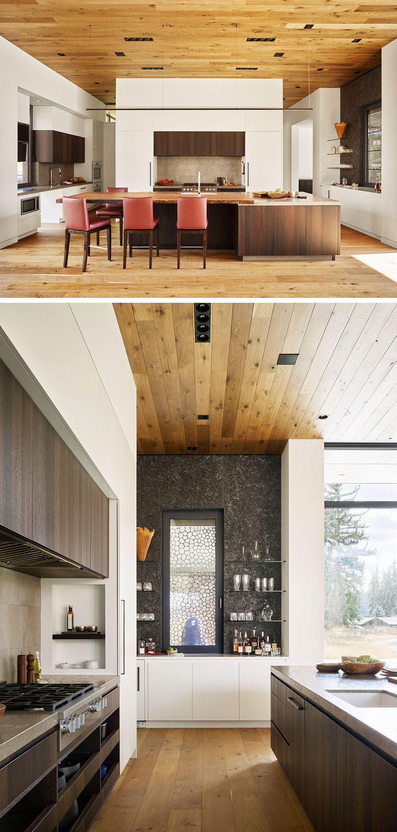 White oak floors and ceilings warm and ground this modern guesthouse, while the kitchen makes use of darker wood and white cabinets for a contemporary look. #KitchenDesign #ModernKitchen