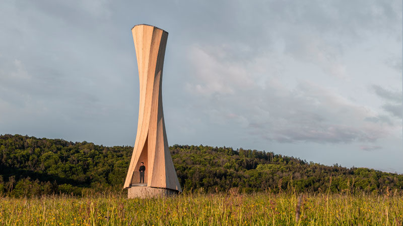 The Urbach Tower Is A New Landmark In Germany That Was Built From Self-Shaping Wood