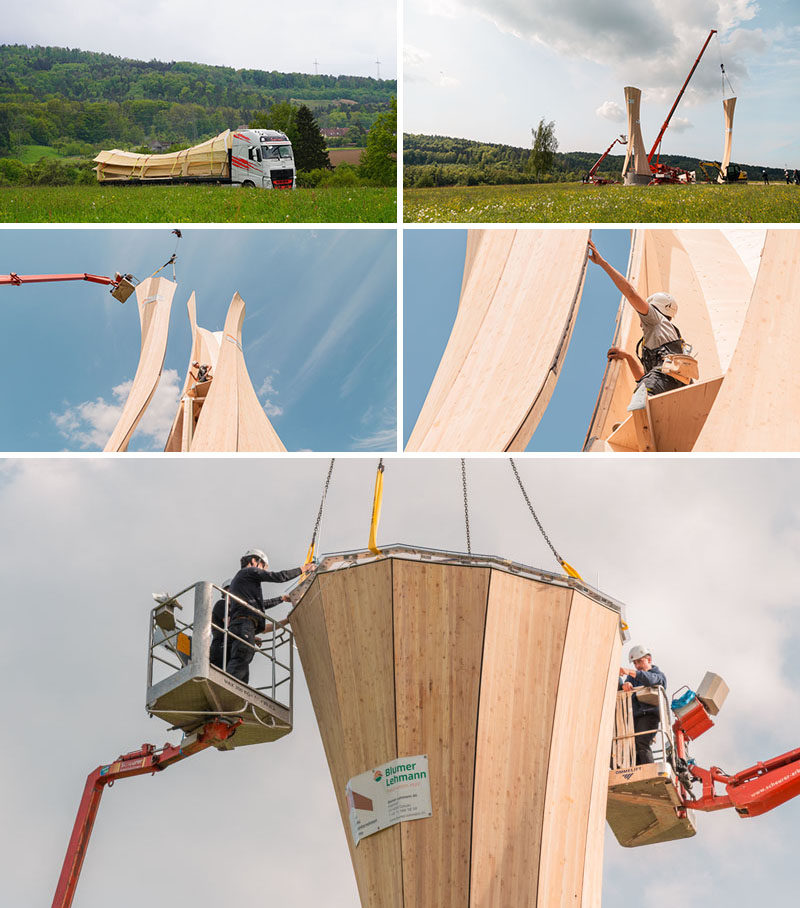 'INSTALLATION' PHOTOS - The Urbach Tower is the first wood structure made from self-shaped components, and it serves as a landmark building for the City of Urbach's contribution to the Remstal Gartenschau 2019. #Architecture #Design #Sculpture