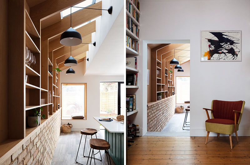 This renovated house features a wall pantry with shelving and skylights. #WallPantry #Shelving