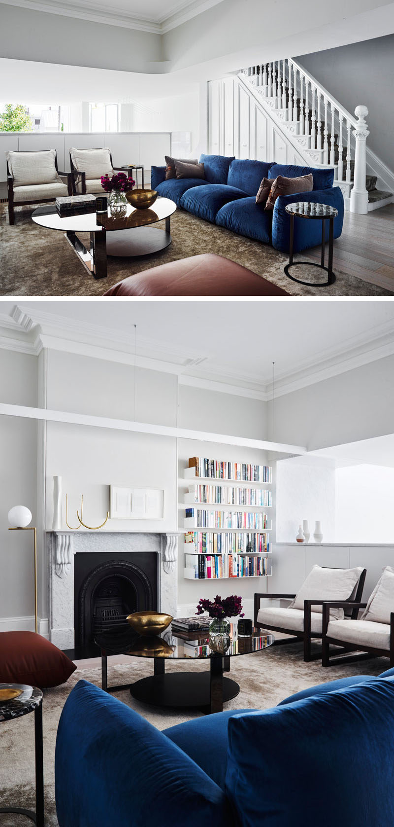 Inside this renovated Victorian house, there's a formal living room with some original features, like the fireplace, that have been combined with contemporary elements, like the shelving. #LivingRoom #Shelving #Fireplace