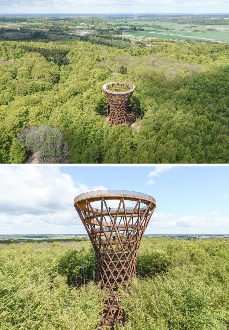 Architecture and urban planning studio EFFEKT, has recently completed a sculptural observation tower at Camp Adventure, the first of its kind in Scandinavia and located one hour south of Copenhagen. #ObservationTower #SculpturalTower #Architecture