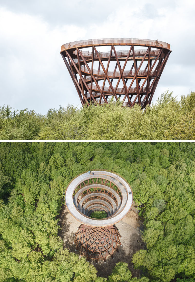 This sculptural observation tower is the centerpiece in a nature experience that provides visitors with a chance to see the Gisselfeld Klosters Forest from a unique perspective. #ObservationTower #Architecture #Denmark