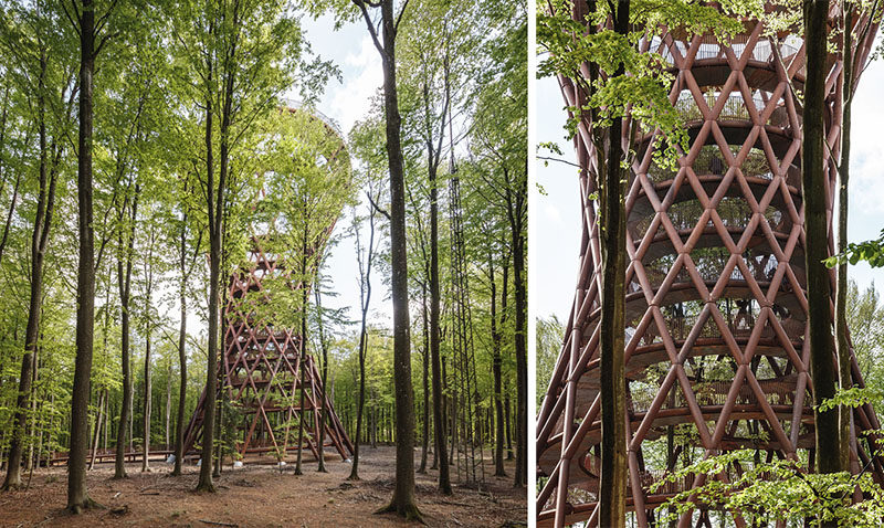 A 900 meter elevated boardwalk zigzagging in and out between the trees, leads to this sculptural observation tower, which has a height of 147 feet (45m) and features a 2132 foot (650m) long inner spiraling ramp. #ObservationTower #Sculpture #Architecture