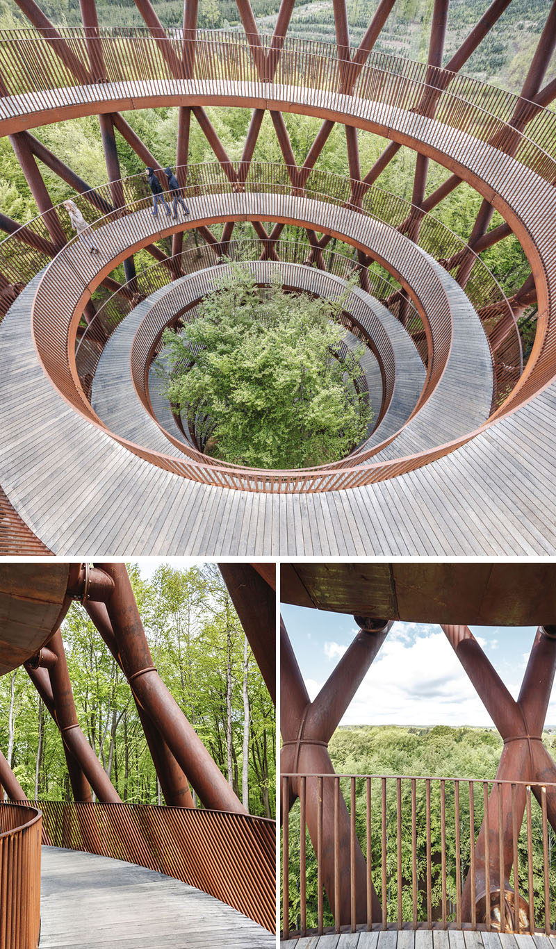 The spiraling ramp to the observation deck at the top of this spiraling tower provides guests with various view points the entire way, while also offering step-free access to all visitors. #ObservationTower #SpiralTower #Architecture