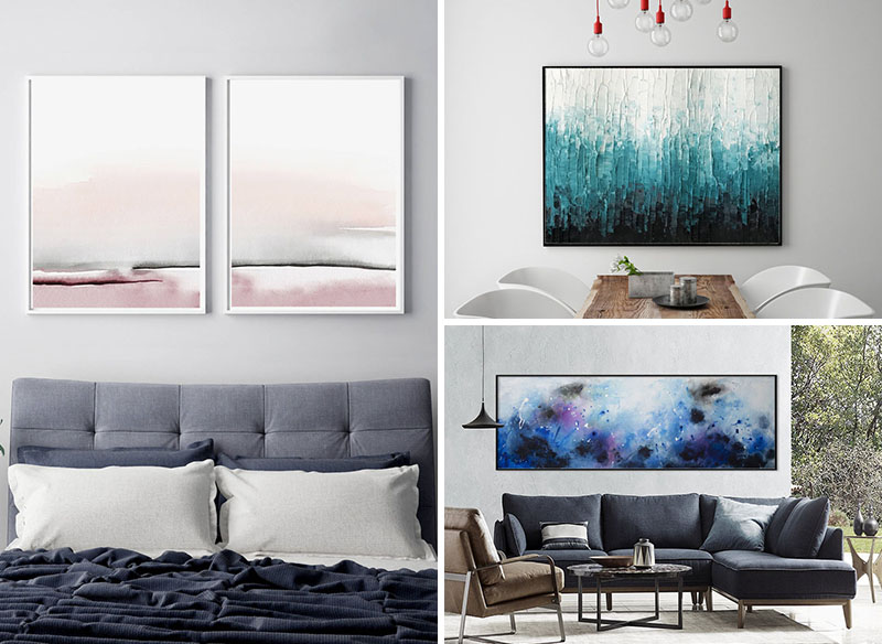 Abstract wall art is a great way to add color and interest to your walls. From bold black and white, to soft blush tones with metallic accents, and ocean-inspired blues, here's 25 abstract artworks to help you decorate your home. #AbstractWallArt #WallDecor #Art #WallArt