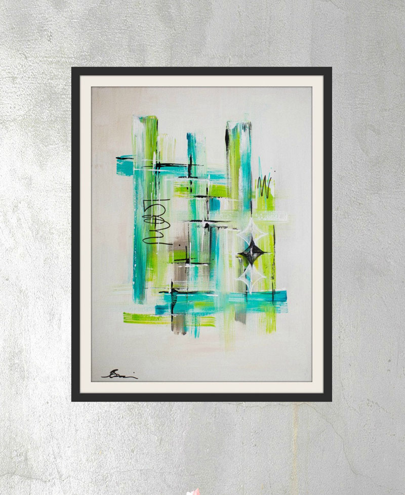 This blue / green modern abstract wall art by Angela Bisson, was inspired by the optimism of the mid-century era. #AbstractWallArt #WallDecor #ModernArt
