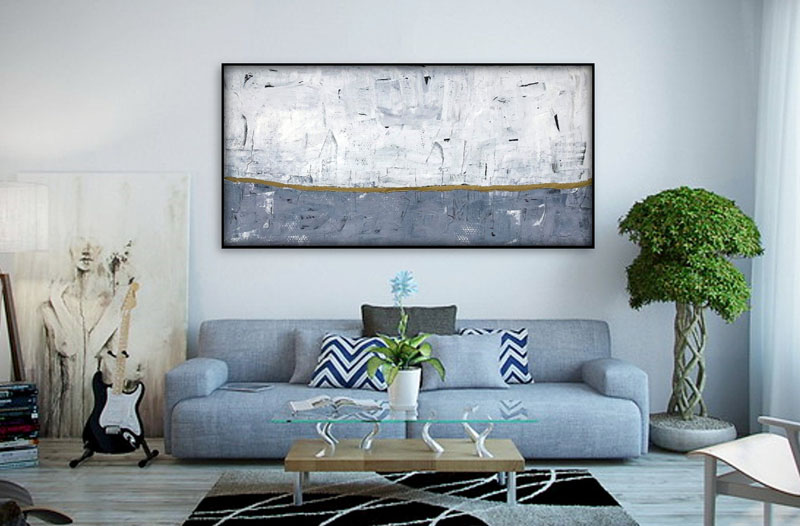 This extra large abstract painting has been created by Matt Sakuta, a self-taught artist who lives in Grand Rapids, Michigan. #AbstractWallArt #WallDecor #ModernArt