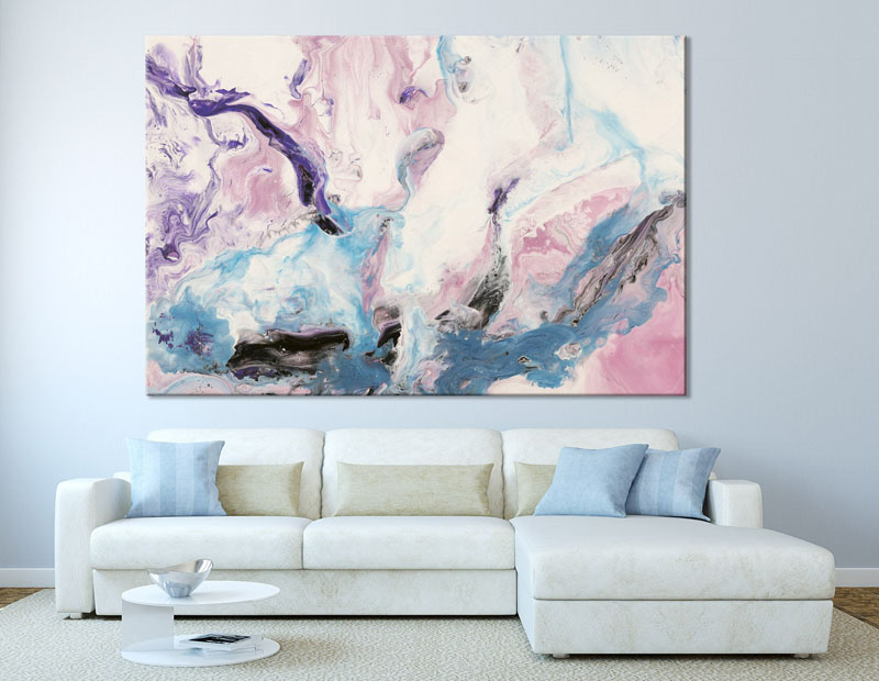 Annie, designer & shop owner at ELWA, has created abstract wall art that is inspired by the lines and colors of marble. #AbstractWallArt #WallDecor #Art #Marble