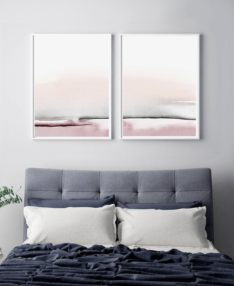 This instant download printable set of abstract wall art by Little Valley Studio, combines soft pinks and greys for a contemporary appearance. #AbstractWallArt #WallDecor #BedroomWallArt