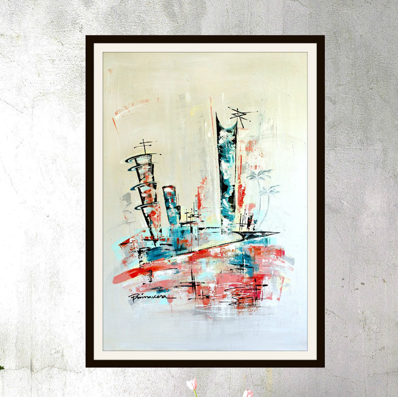 This colorful abstract wall art print from an original piece by Angela Bisson, is inspired by a mid-century modern skyline. #AbstractWallArt #WallDecor #MidCenturyModern #WallArt