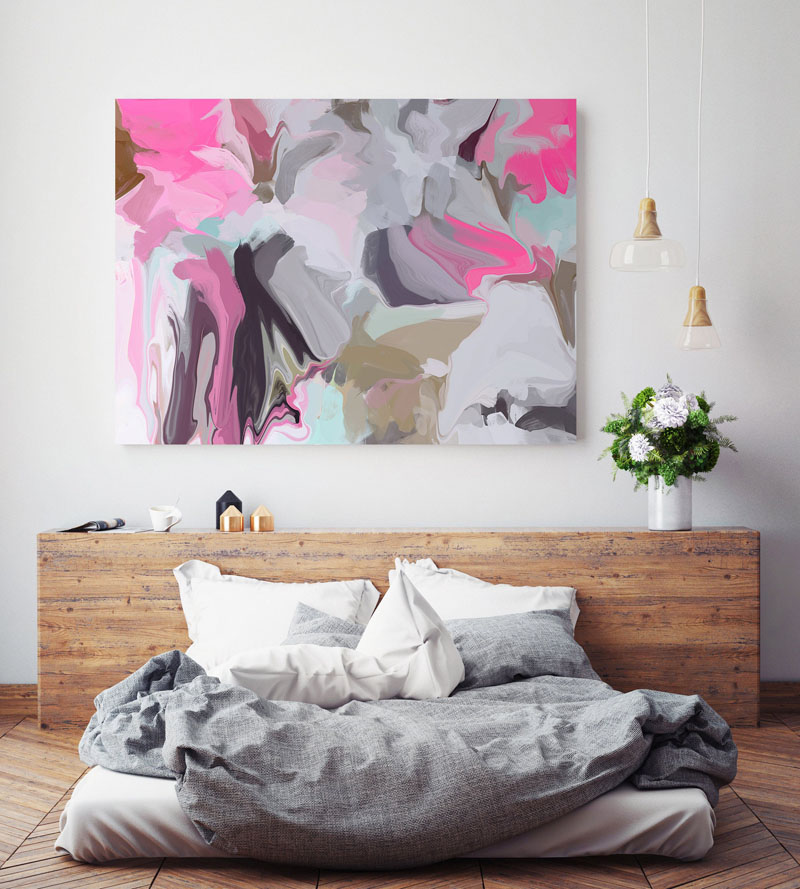 Los Angeles based artist Irena Orlov, has created 'Amazed 2', colorful abstract wall art with different shades of pinks, purples, blues, greys, and taupe. #AbstractWallArt #BedroomWallArt #WallArt