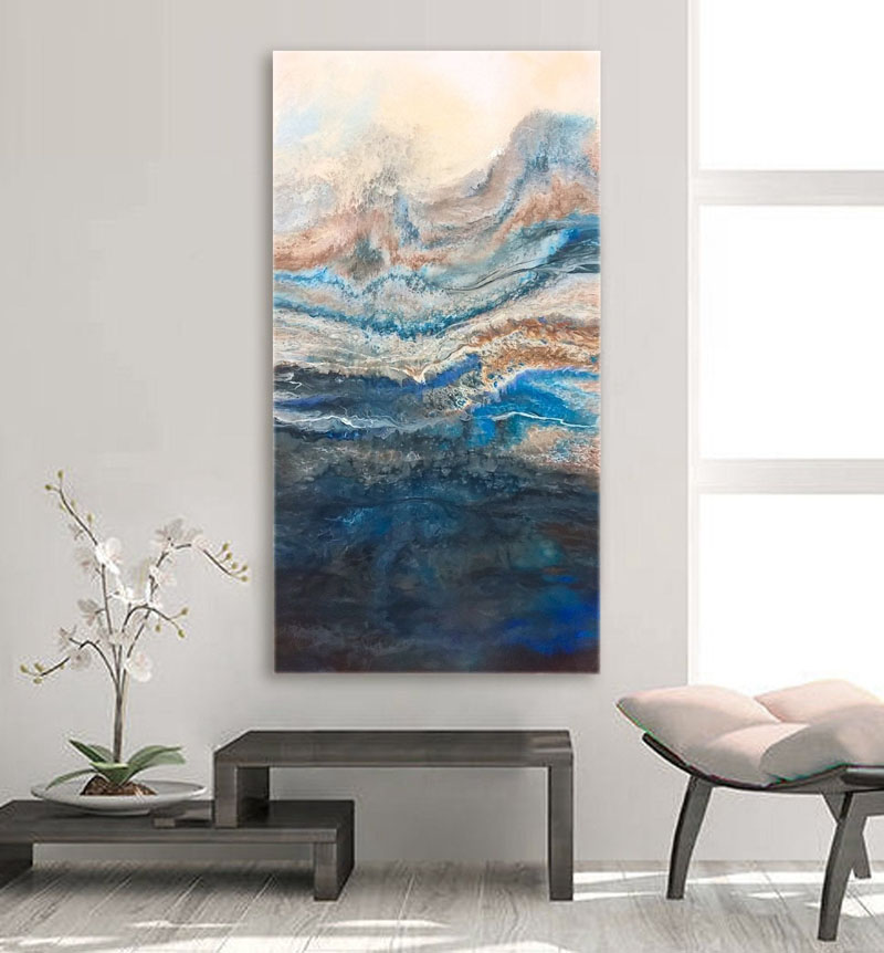 Anna Skomorovsky has created abstract wall art that was inspired by a mountain landscape, and is titled 'Spring Fog in the Mountains'. #AbstractWallArt #ModernArt #WallDecor