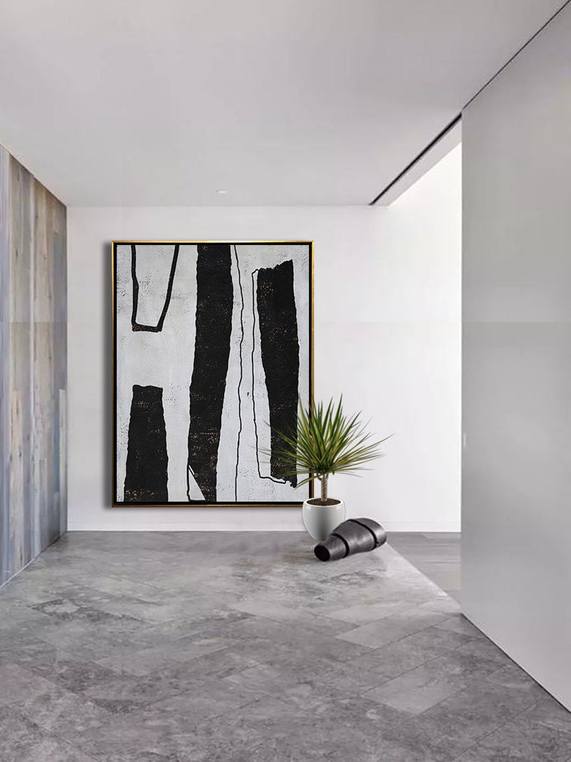 Artist Ethan Hill has created black and white abstract wall art that's oversized and makes a strong, bold statement. #AbstractWallArt #WallDecor #LargeArt