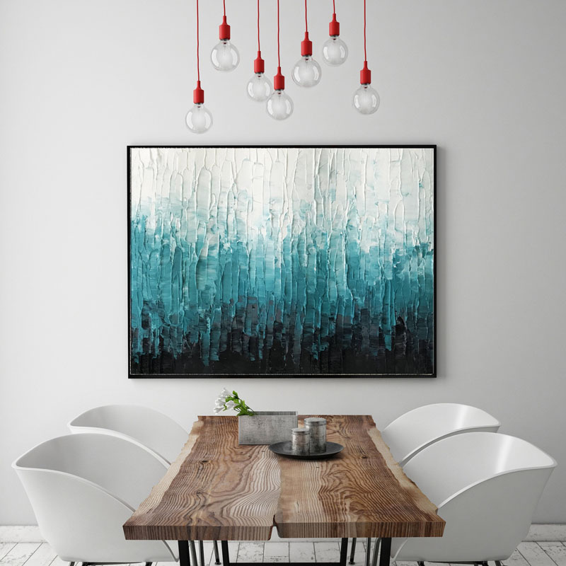 Using a palette knife, artist Nikki Chauhan has created this teal, black, and white abstract wall art, that has a textured appearance. #AbstractWallArt #ModernArt #WallDecor