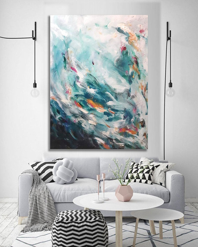 "Titled ""I'm A Mess"", this original abstract wall art by Kate Wiebe, combines a mixture of blue, teal, pink, white, yellow, and green. #AbstractWallArt #WallDecor #WallArt"