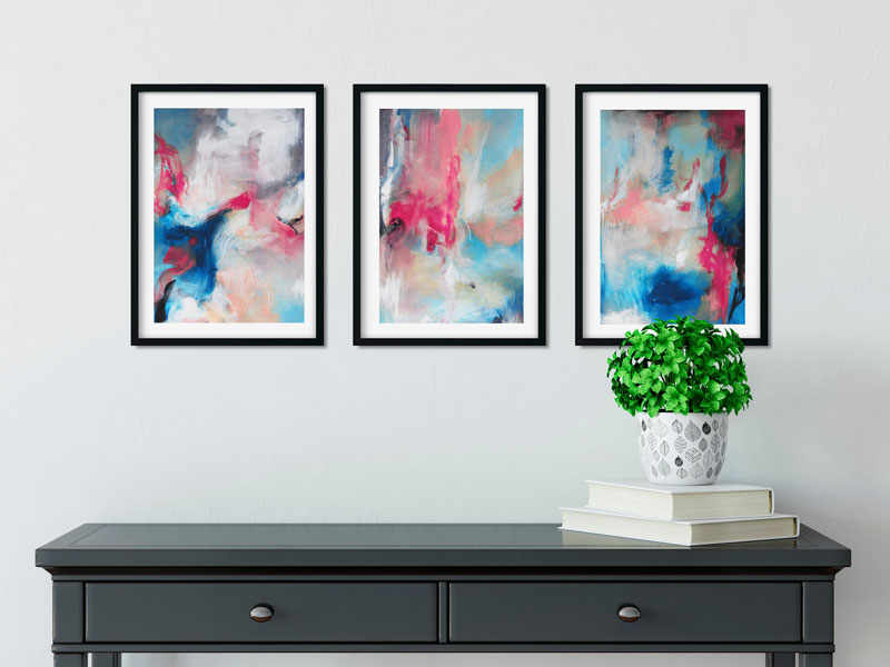 This set of three framed abstract wall art prints are made in Canada, and can be displayed both vertically and horizontally. #AbstractWallArt #GroupOfArt #WallDecor #WallArt