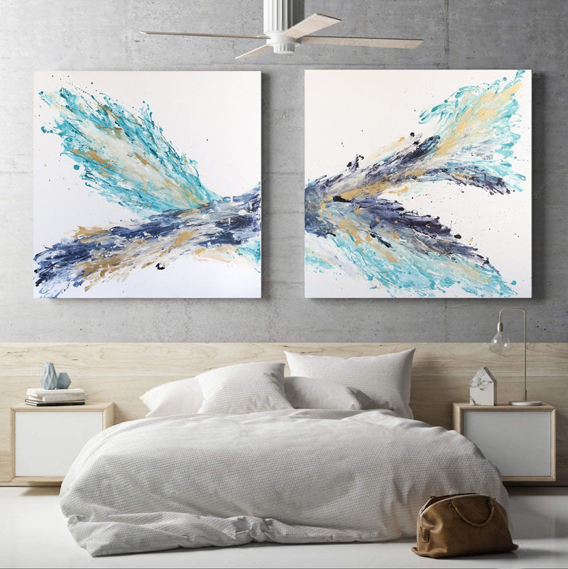 Titled 'Lagoon', this two-piece abstract wall art set was created by Eva Bassano, an artist, decorator and interior designer, who is based in Kiev, Ukraine. #AbstractWallArt #WallArt #WallDecor