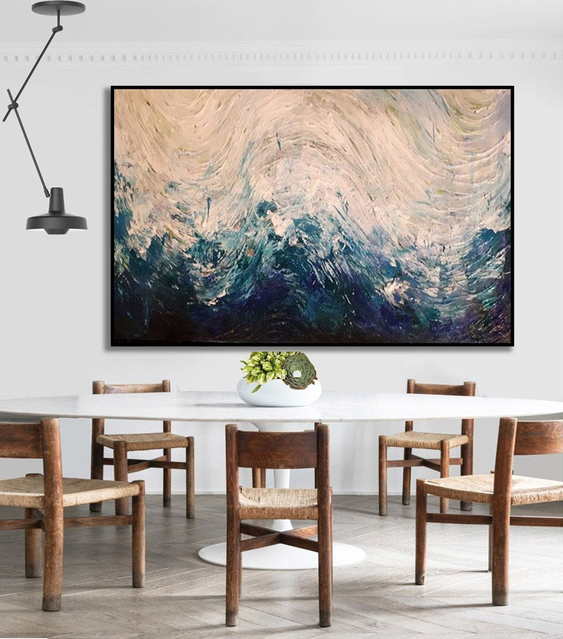 This handmade acrylic artwork by Kate Wiebe, uses natural colors to create an abstract wave-like appearance. #AbstractWallArt #WallDecor #WallArt