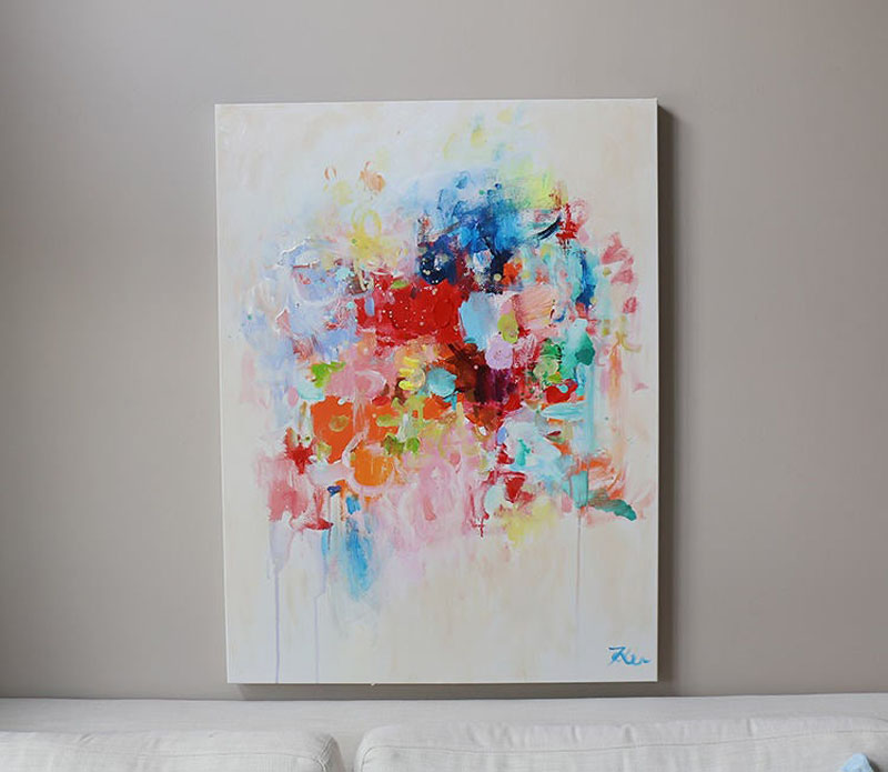 This original and brightly colored abstract wall art has been created by OAK, a Korean-born artist who now lives in Canada. #AbstractWallArt #WallDecor #WallArt