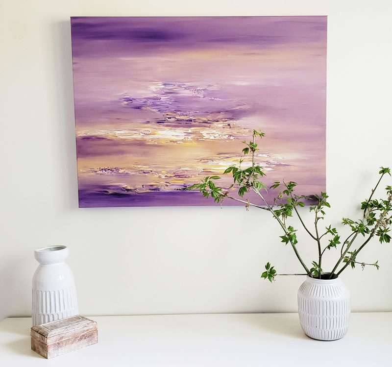 Artist Christine Mey has created purple and gold abstract wall art that's titled 'Gilded tide waters'. #AbstractWallArt #WallArt #WallDecor