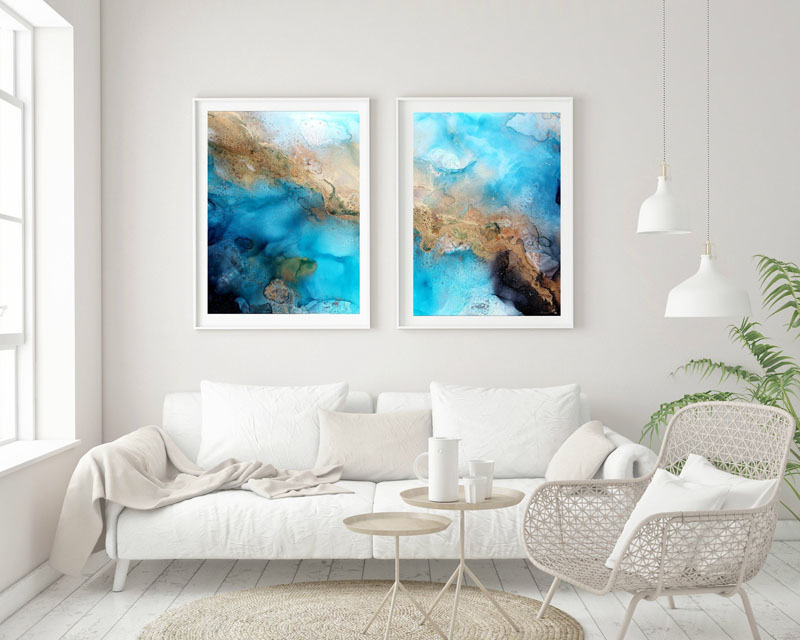 "Titled ""Reverie"" from Heather Vann's ""Liquid"" Series, this pair of abstract wall art combines blue, gold, black, and silver, with brass accents. #AbstractWallArt #WallDecor #WallArt"