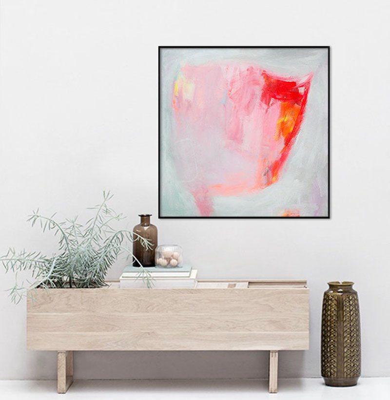 This pink and grey abstract wall art print by ElenasPrintedArt, is printed on archival grade, acid-free canvas. #AbstractWallArt #ArtPrint #WallArt #WallDecor