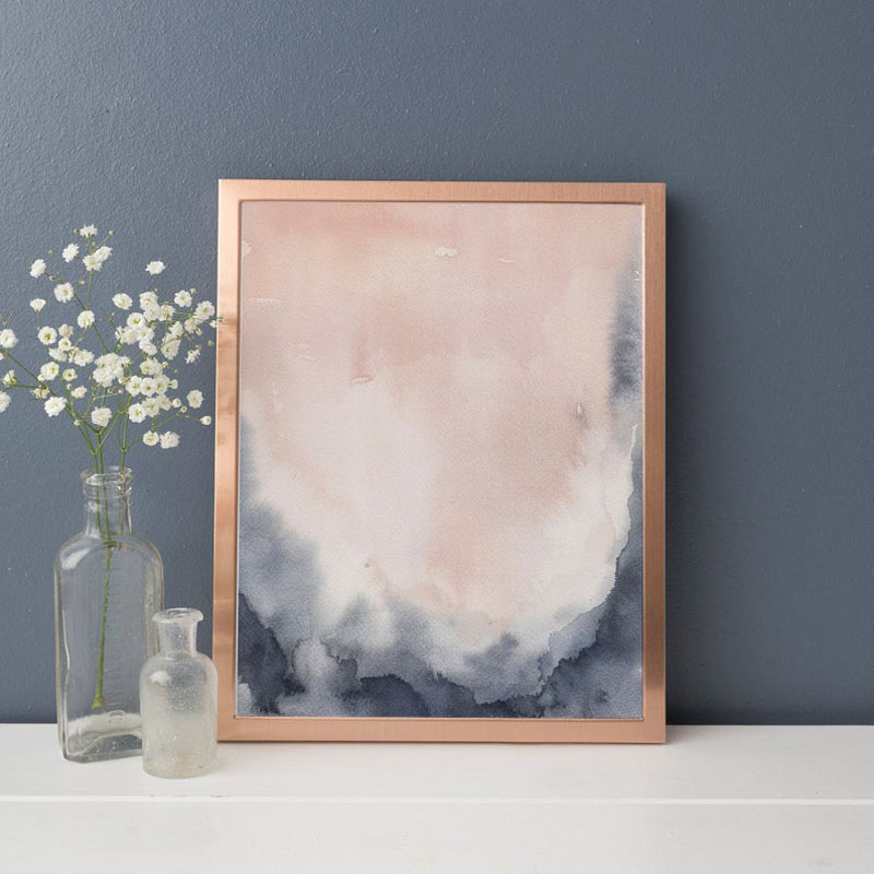 This instant download digital print by Emily Wood of JettyHome, uses blush pink and indigo blue to create a soft abstract watercolor art print. #AbstractWallArt #ArtPrint #WallArt #WallDecor