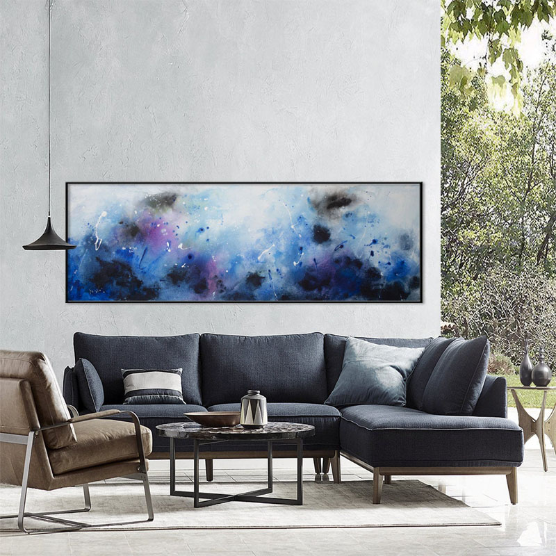 This large seascape print by ElenasPrintedArt, uses blues, black, purples, and white, to create an underwater abstract design. #AbstractWallArt #WallArt #AbstractArt #WallDecor