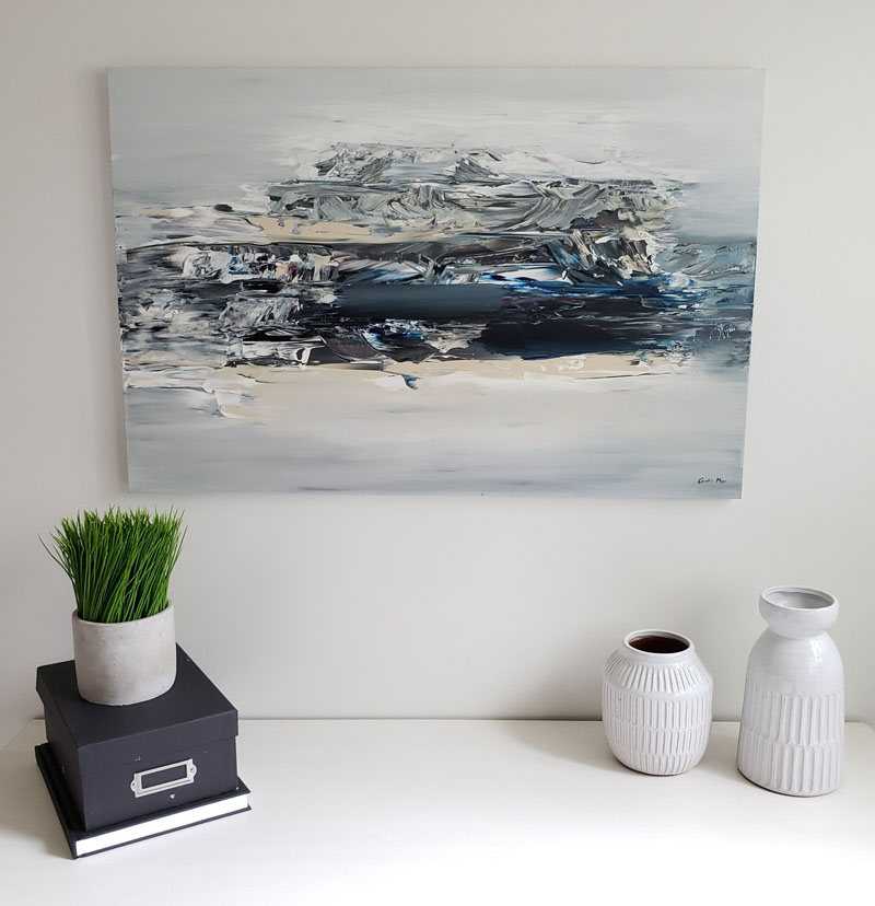Artist Christine Mey has created an original abstract painting titled 'Dry Ice Landscape', that references the ocean landscape. #AbstractWallArt #WallDecor #WallArt