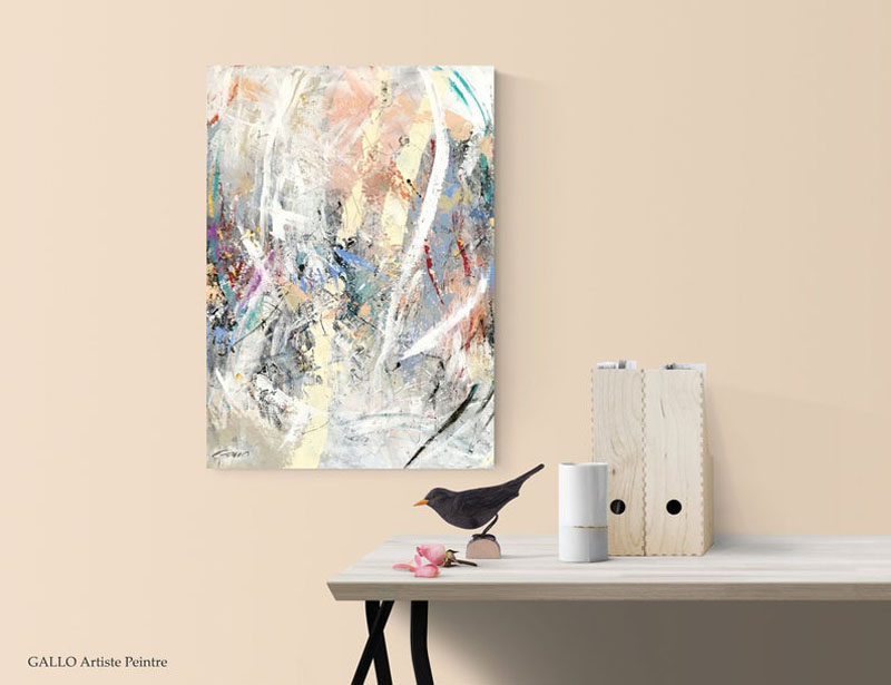 This abstract wall art by GALLO Artiste Peintre, is titled 'In My Head', and combines multiple colors to create a modern design. #AbstractWallArt #WallDecor #WallArt